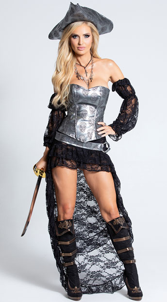 Deadly Pirate Captain Costume - As Shown