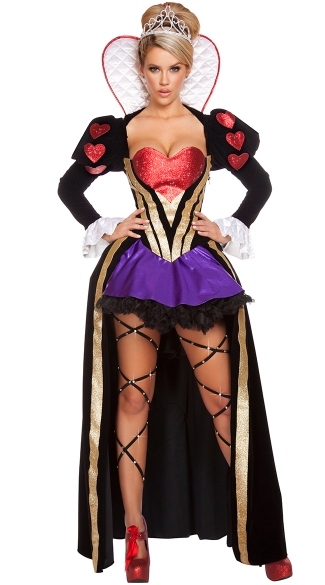 Women's Sexy Sultry Heartless Queen of Hearts 4-Pc Alice In Wonderland Costume