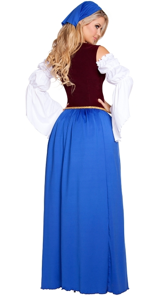 Beautiful Bar Maiden Costume - Blue/Burgundy
