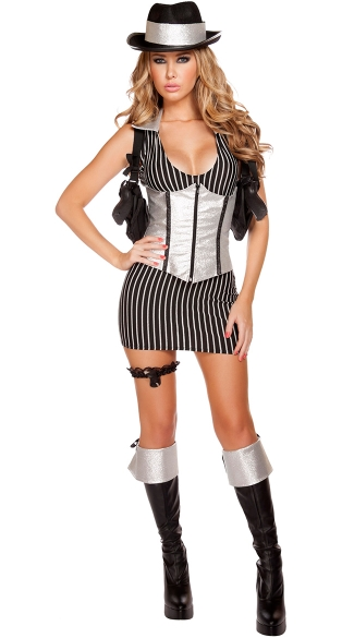 Sexy Mafia Mistress Costume, Gangster Costume, Sexy Mobster Halloween Costume