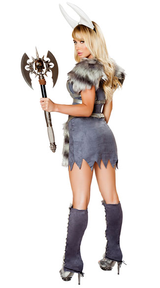 Sexy Furry Viking Costume - Grey