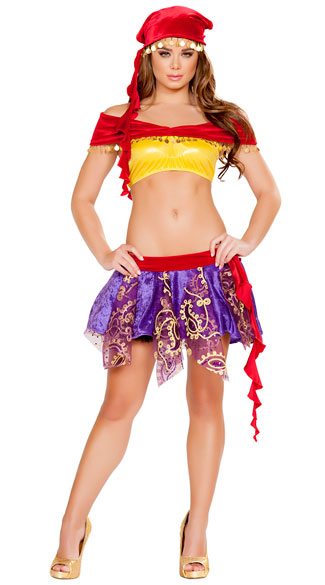 Mischievous Gypsy Costume - Red/Purple/Yellow