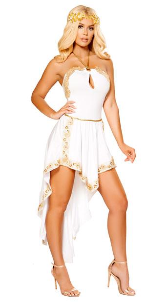 Elegant Golden Goddess Costume - White/Gold