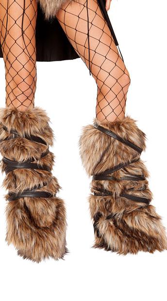 Faux Fur Viking Leg Warmers - Brown