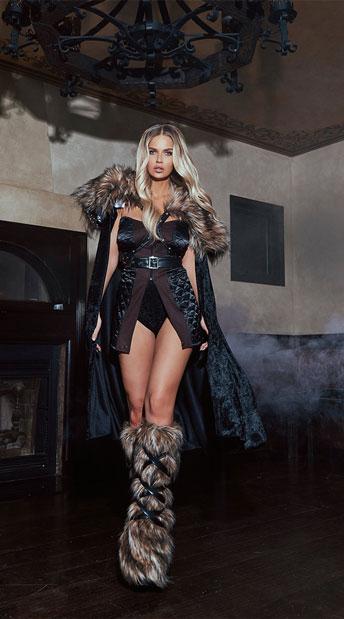 Fierce Northern Warrior Costume - Black/Brown