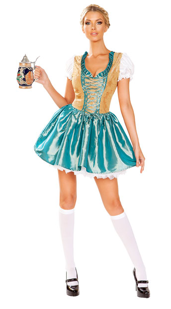 Flirty Beer Fraulein Costume - Blue/Gold