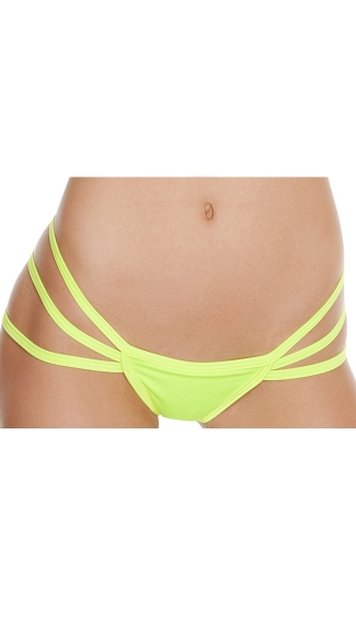Triple Strapped String Back Thong - Yellow