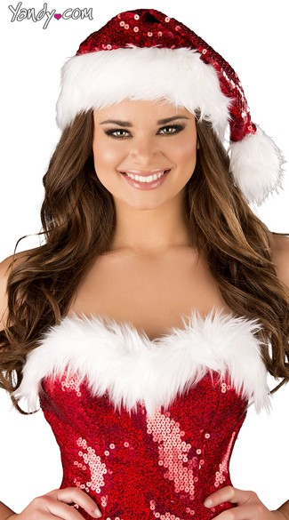 Sequin Santa Hat, Santa Claus Hat, Christmas Hat