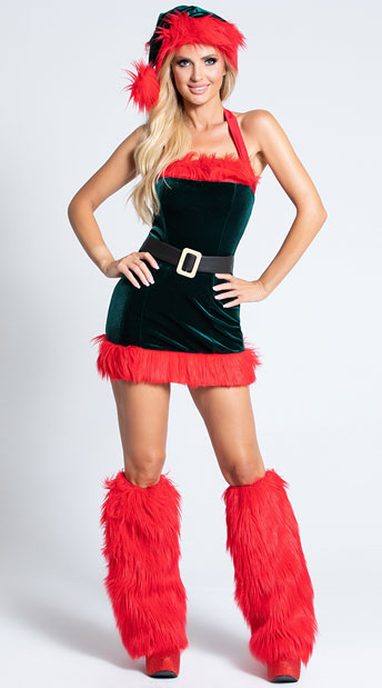 Santa's Envy Christmas Dress - Green/Red