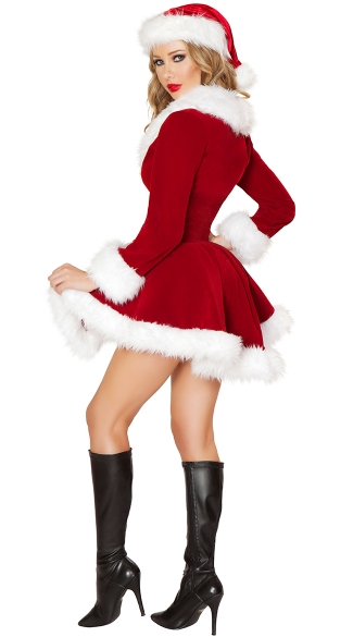 Sexy Velvet Santa Costume - As Shown