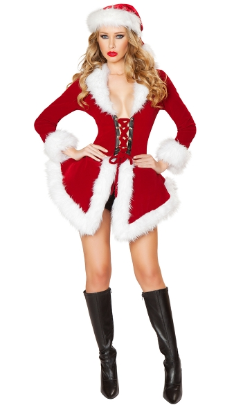Sexy Velvet Santa Costume, Chic Santa Dress