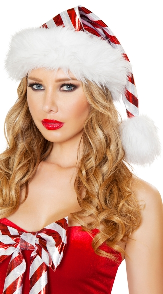 Red and White Striped Christmas Hat, Striped Metallic Santa Hat