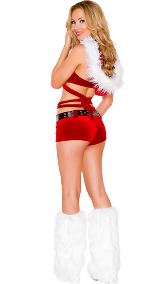 Santa's Vixen Wrap Around Top and Shorts - Red/White