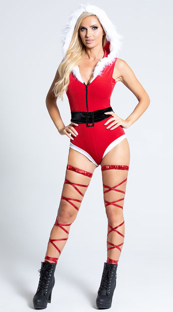 Santa's Secret Romper Costume - Red/White