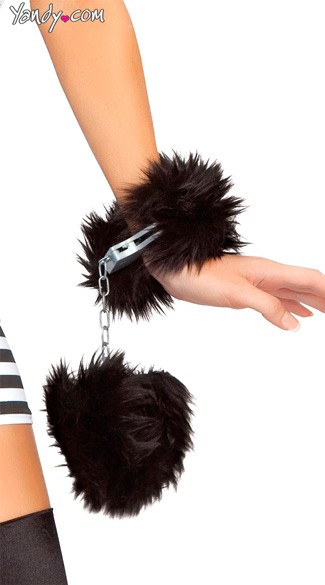 Fur Trimmed Handcuffs - As Shown