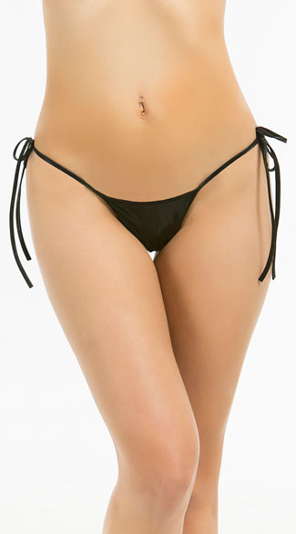 Metallic Tie Side Scrunch Bottom - Black