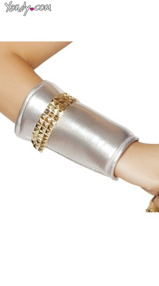 Silver Wrist Cuffs with Gold Studs - Gold