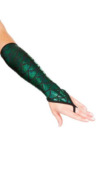 Fingerless Mermaid Gloves - Hunter Green