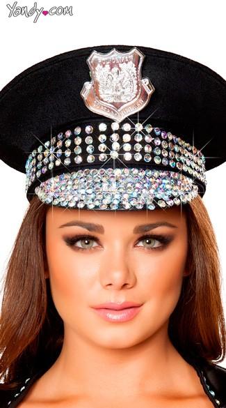 Rhinestone Studded Police Hat - Black