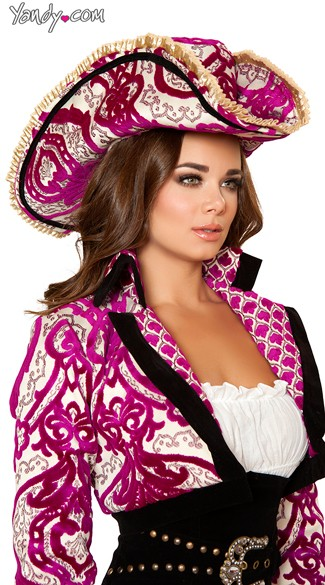 Pink Brocade Pirate Hat - As Shown