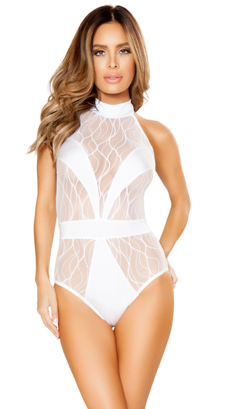 Reflections V-Covered Romper, White Bodysuit, Sexy Sheer Teddy