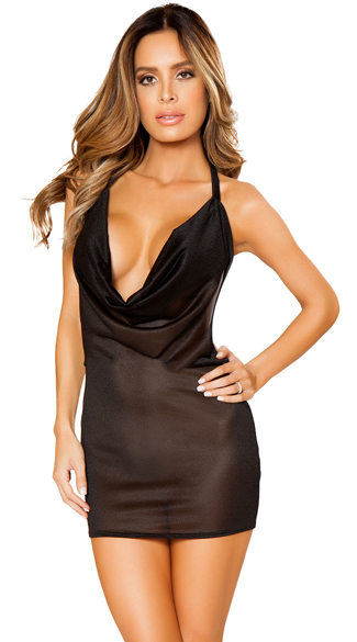 c0d1dcf0da Sexy Cowl Neck Mini Dress - Black ...