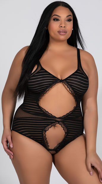 544e61ac10f8e Plus Size Striped Cut-Out Teddy - Black ...