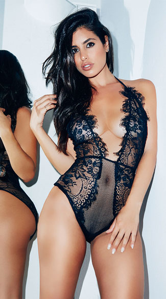 Low Cut Eyelash Lace Teddy - Black