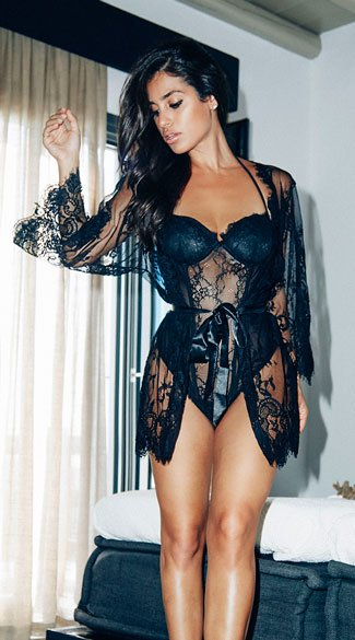 Draping Eyelash Lace Robe - Black