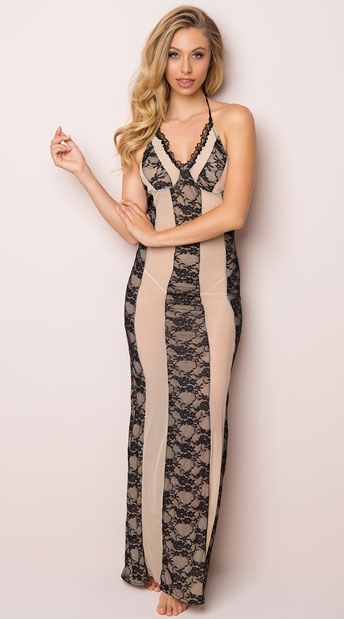 Alluring Lace Lingerie Gown, mesh and lace gown - Yandy.com