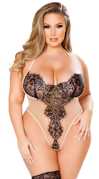 Plus Size Tempting Teddy in Eyelash Lace, Plus Size Eyelash Lace Teddy - Yandy.com
