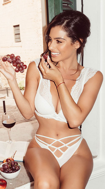 Elegant Lace Bra Set - White
