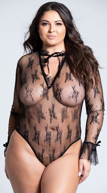 Plus Size Black Sheer Elegance Teddy - Black