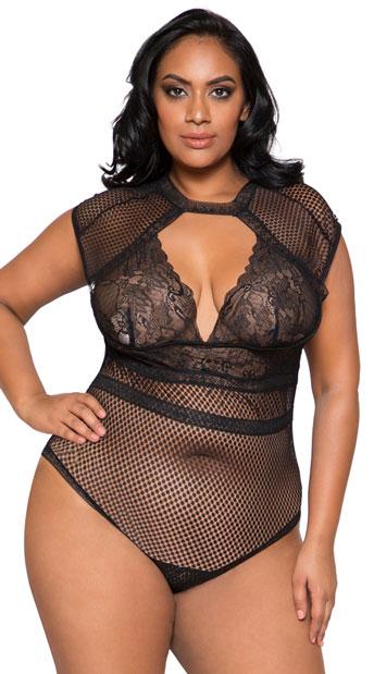 Plus Size Cap Sleeve Keyhole Bodysuit - Black
