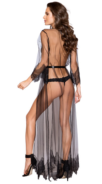 Sheer Elegance Long Robe - Black/Black