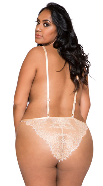 Plus Size Simply Stunning Low Plunge Teddy - Beige