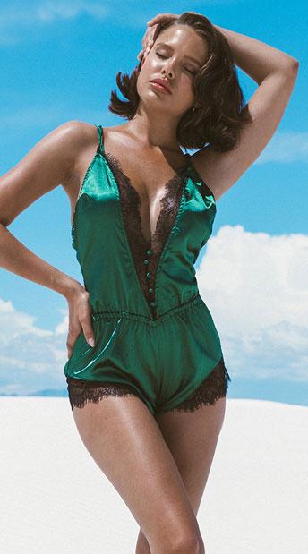 Elegant Green Eyelash Lace and Satin Romper - Green/Black