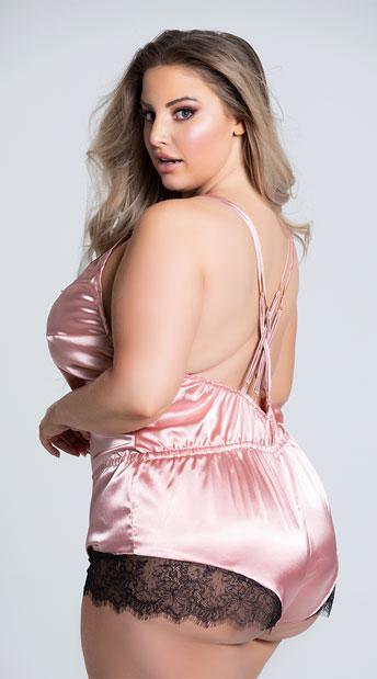 Plus Size Pink Elegant Eyelash Lace and Satin Romper - Pink/Black