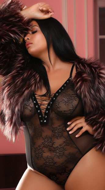 Plus Size Try Me Lace-Up Bodysuit - Black