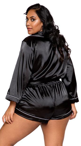 Plus Size Black Collared Sweet Dreams Satin Romper - Black