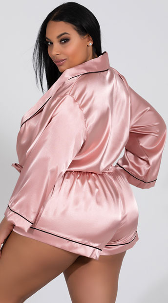 Plus Size Collared Pink Sweet Dreams Satin Romper - Pink