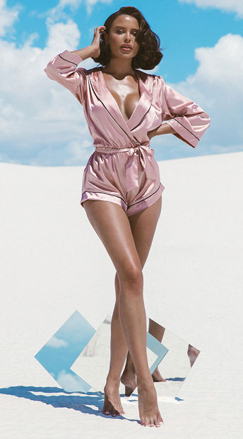 Collared Pink Sweet Dreams Satin Romper - Pink
