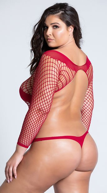 Plus Size Ridiculously Red Crotchless Teddy - Red