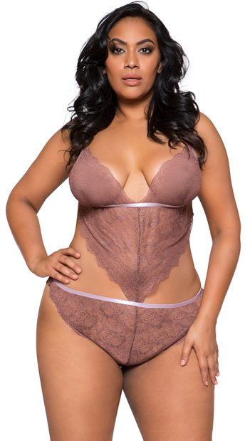 Plus Size Cut To The Chase Teddy - Mauve
