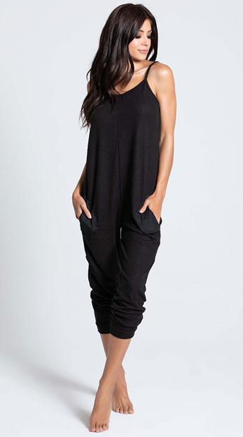 Comfy Pajama Pocket Jumpsuit - Black
