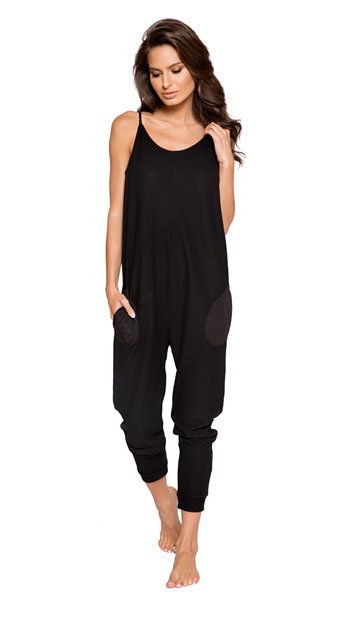 Comfy Pajama Pocket Jumpsuit - Black
