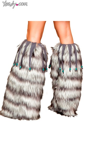 Furry Grey Legwarmers With Beaded Fringe - Grey