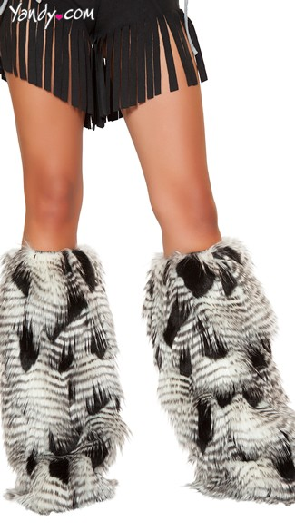Faux Feather Look Legwarmers - As Shown