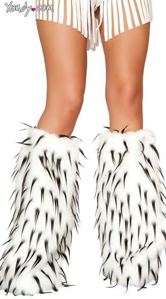 Two Tone Furry Leg Warmers - as shown