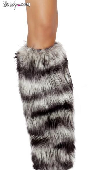 Black and Grey Faux Fur Legwarmers - As Shown